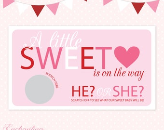 10 Valentines Day Baby Gender Reveal Scratch Off Cards