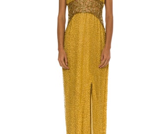 1980s Vintage Gold Beaded Gown   Size: S/M