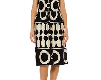1960s Vintage Black and White Geometric Print Dress    Size: XS