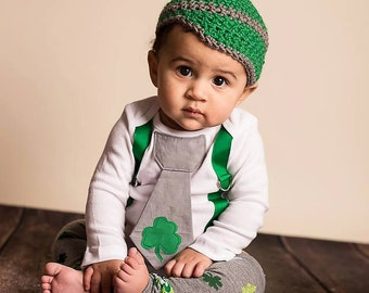 Baby Boy St. Patrick's Day Outfit, Tie Bodysuit with Shamrock, Leg Warmers, Crochet Newsboy Hat, Gray and Green, Lucky, Irish, Pinch Proof