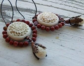 Angelina earrings- creamy white cinnabar flowers. artisan glass teardrops. red jasper. vingtage bead caps. autumn earrings. Jettabugjewelry
