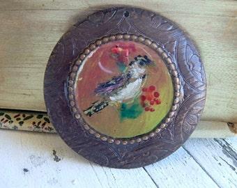Fancy Finch- resin art pendant. original painting. woodland bird. nature inspired gift. rustic bird jewelry. brass bezel. Jettabugjewelry