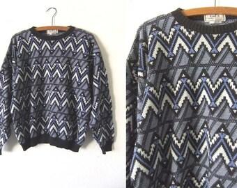 90s Zig Zag Abstract Patterned Sweater - Geometric Chevron Knit Jumper - Mens Medium