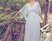 Silk Wedding Dress, White Wedding Dress,  Bohemian Gown, Vintage Wedding, Dresses Wedding, Long Wedding Dress, Handmade Gown, Silk Chiffon