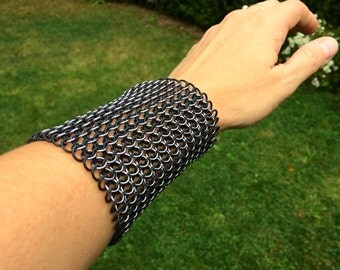 Widest Black on Black Ice Chainmaille Cuff - 4 Inches Wide - Ready to Ship