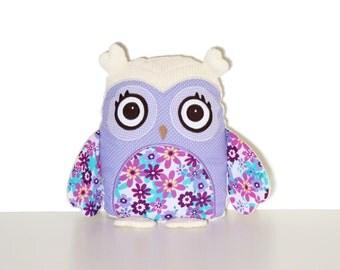 Plush Owl Toy, Fabric Owl Doll,  Woodland Nursery Decor, Child Friendly Cloth Owl