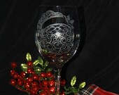 Hand etched Santa wine glass