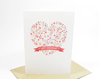 Anniversary Card - Floral Heart with Banner - HWA013 - Happy Anniversary