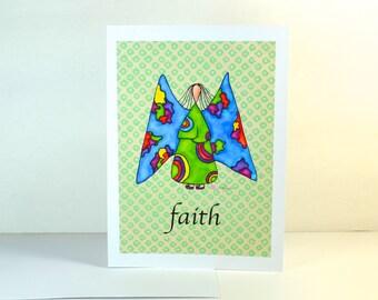 "Greeting Card ""Faith"" / Wedding Bridal Engagement Anniversary / Birthday Baby Shower Girl Angel Wings Christmas Card / Print at Home Artwork"