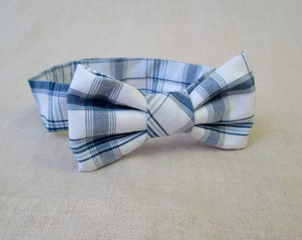 Boys Bow Tie - Blue and White Plaid Bow Tie -  3 Month Boy Photo Prop 6 Month Photography Prop - Ready to Ship  Blue Plaid Baby Bow Tie