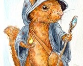 "Red Squirrel Mage- 5""x7"" Watercolor Painting Print"