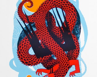 River Lea Dragon - Red - Original Screenprint - Water based inks - Limited edition