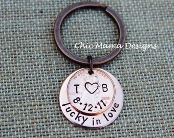 Hand Stamped Lucky US Copper Penny Key Chain /  Keepsake for Wedding Date, Anniversary, Birth, Special Events