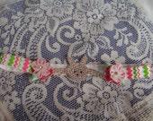 Infant/Baby Easter Headband - Rhinestone Rabbit Headband - Pink & Lime Green Chevron Headband - Easter Bunny Headband - Boutique Headband