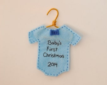 2017 Baby's 1st Christmas bow-tie outfit ornament - customizable