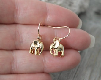 Little girl earrings - Adorable gold Elephant earrings, lucky elephant, good luck charm, 14k gold filled child earrings, French ear wires
