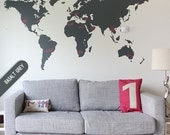 Map | Large World map sticker | Vinyl Wall Sticker | Sticker Decal | Map Sticker | Mens sticker | 210cm x 120cm / 84 x 48 inches