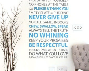Hallway decal House rules hallway table decor decal for the perfect home | 75cm x 150cm / 29 x 59 inches