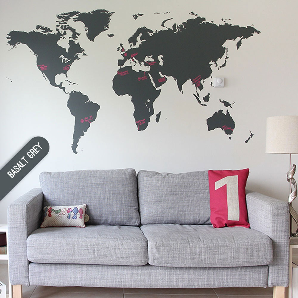 map large world map sticker vinyl wall sticker sticker. Black Bedroom Furniture Sets. Home Design Ideas