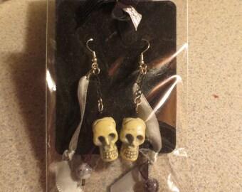 Sweet Skulls - Upcycled Halloween Earrings