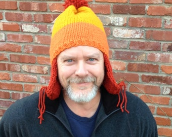 A Hat for Jayne - A Cunning Tri-Color Earflap Hat - Knitting Pattern Only - immediate pdf download