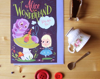 3 Alice in wonderland cards, illustrated cards with matching envelopes