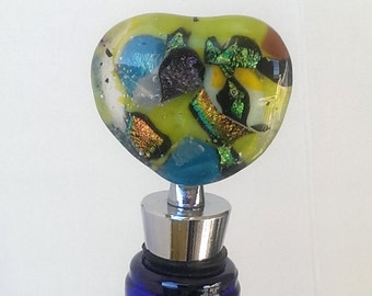 Fused Glass Green Heart Stopper