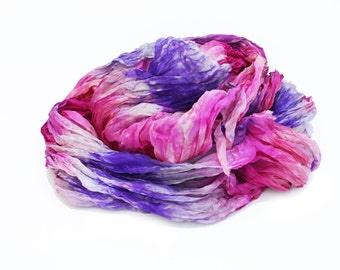 silk scarves, silk scarf, hand dyed scarf - Aster - pink, purple.
