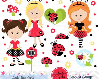 INSTANT DOWNLOAD, Lady Bug Clipart, Lady Bug Girls for Personal or Commercial Use.