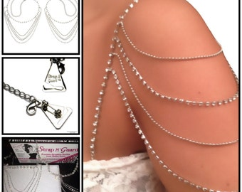 STUNNING Wedding Crystal Dress Straps, with Pin-Latch Bra Hooks for Strapless Bridal Gowns, Prevents Strapless Falling