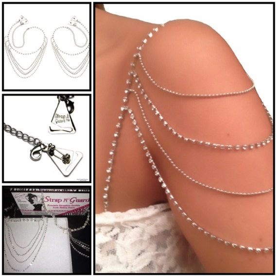 Crystal Shoulder Dress Pin Straps for Strapless Party & Wedding Gowns, Prevents Strapless Falling