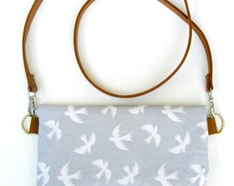 Vintage Inspired Foldover clutch with Gray and White Dove print / Bag / Travel / Make up / iPod cover / Purse Organizer