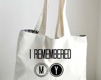 I remembered my grocery bag , Large tote, Sturdy Bag, Heavyweight Canvas Grocery Bag