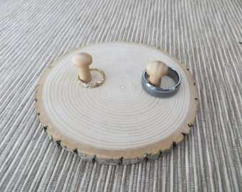 Rustic Wooden Pillow Ring Holder