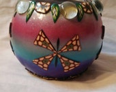 Millefiori Butterfly Mosaic Candle Holder