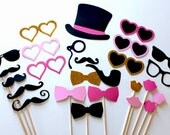 Pink & Gold Glitter Sweetheart Photo Booth Prop Set, features oversized mustaches and beautiful shades of purple