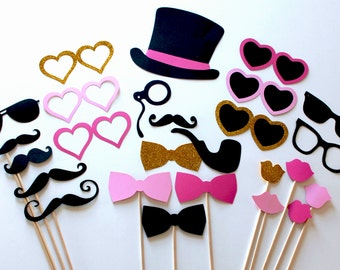 Pink & Gold Glitter Sweetheart Photo Booth Prop Set, features oversized mustaches and beautiful shades of pink