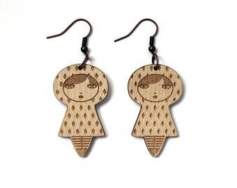 Doll earrings with diamond pattern - matriochka jewelry - kokeshi jewellery - lasercut maple wood - minimalist - cute - contemporary