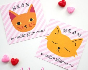 INSTANT DOWNLOAD - Smitten Kitten Kitty Cat Classroom VALENTINES