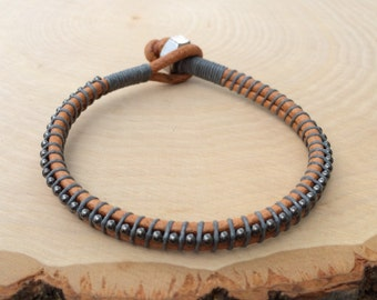 Mens Bracelet, Guys Bracelet, Men's Jewelry, Leather Bracelet, Tan Leather, Gray, Gunmetal, Cool and Comfortable, Unique Gift for Him