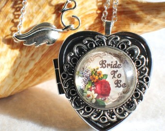 Music box locket, heart shaped locket with music box inside, in silver or bronze for Bride.