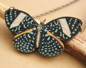 Butterfly Woodcut Necklace -  Large Blue Spotted Wooden  Butterfly Pendant