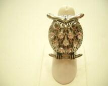 Vintage Large Silver Tone Owl Ring (5658) Rhinestone Belly, Adjustable
