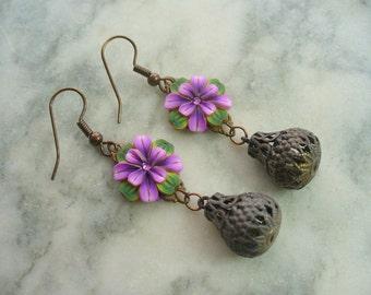 Purple Flower Dangle Earrings, Polymer Clay Flower Earrings, Vintage Antique Brass, Long Dangle Earrings, Purple, Green