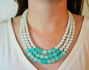 SALE! Robin's Egg Blue + Pearl Graduated Statement Necklace - Summer 2014 Collection - last one!