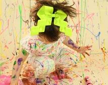 Neon Cheer Bow, Lime Green Hair Bow, Neon Hair Bow, Wavy Bow, Birthday Bow, Big Hairbow, Large Hair Bow, Gifts under 10, Basic Hair Bow