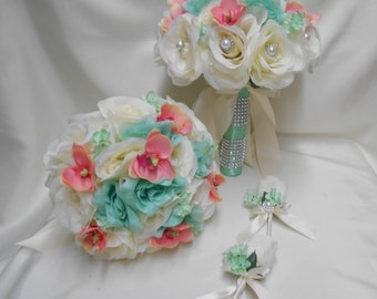 Wedding Silk Flower Bridal Bouquet 18 pieces Package Ivory Mint Rose Coral mini orchid Bride Bridesmaid Boutonnieres Corsages FREE SHIPPING