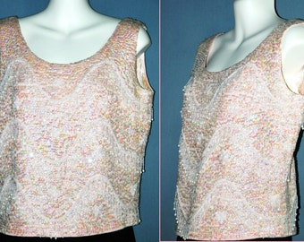 Vtg 60's – 70's Pink Mother-of Pearl Sequined Corset Evening Blouse / Top