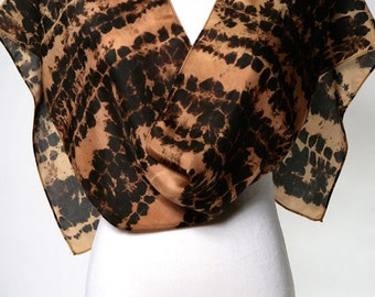SALE • Use 40% Off Coupon: HOLIDAY40 • Shibori Silk Scarf // Tribal Scarf in Copper, Gold, Silk Scarf // Hand Dyed Silk Scarves