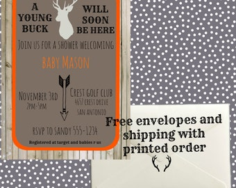 Young Buck Baby Shower Invitation - Printable or Printed for you! Free shipping and free envelopes!